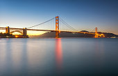 Long exposure photo of Golden Gate Bridge in San Francisco at sunset from Torpedo Wharf. San Francisco, CA. USA