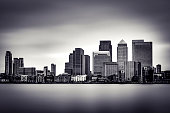 Black and White panoramic view of Canary Wharf, the financial district in London, England, UK