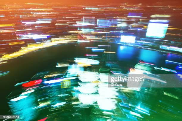 Long exposure city aerial view, Shanghai, China