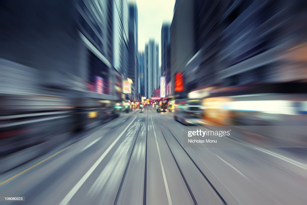 Long exposure Hong Kong street : Stock Photo