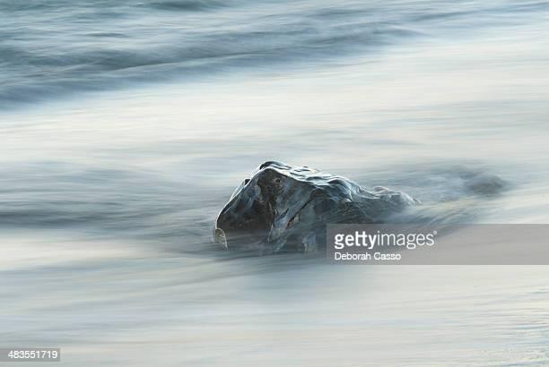 Long exposure image of rock in surf