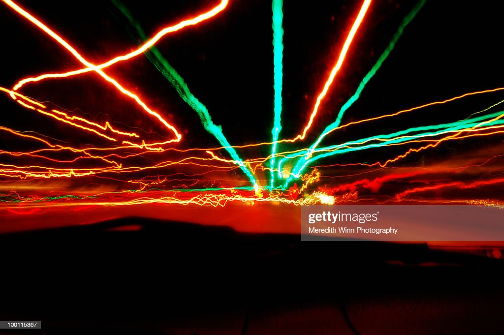 Long exposure nighttime driving lights : Stock Photo