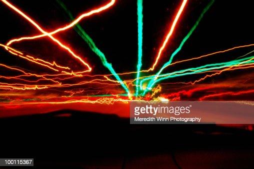 Long exposure nighttime driving lights : Stock Photo