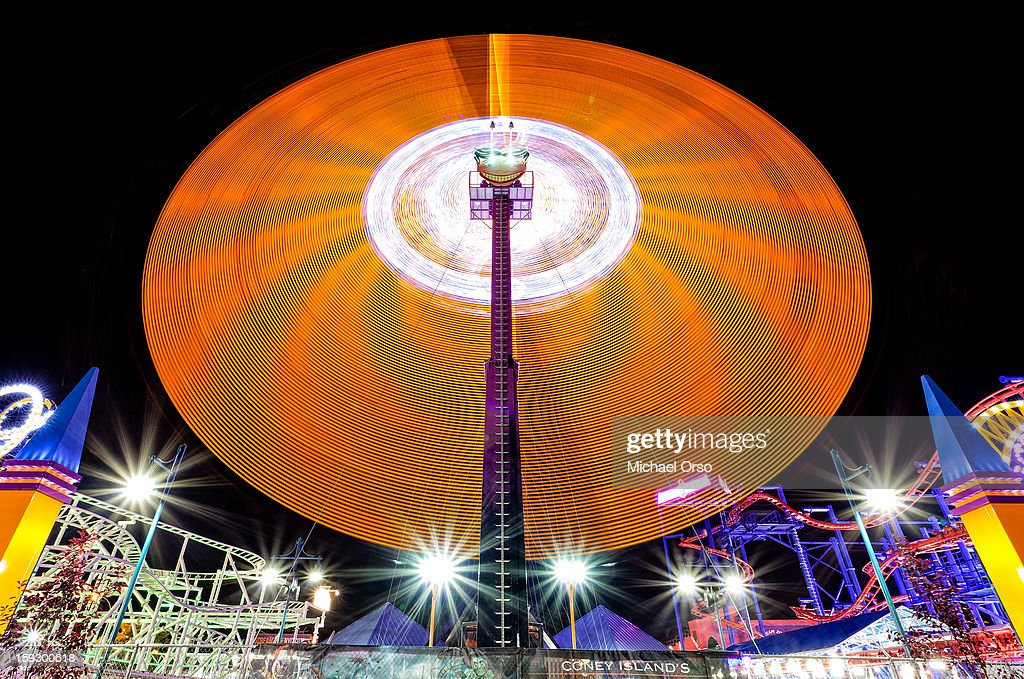 CONTENT] Long exposure of a spinning ride at night... Coney Island, NY