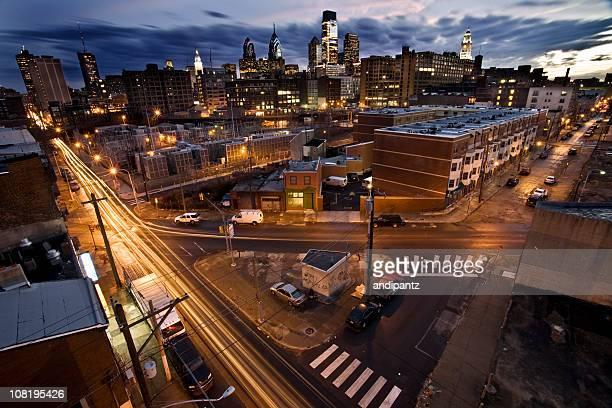 Long Exposure of Downtown Philadelphia Skyline at Dusk