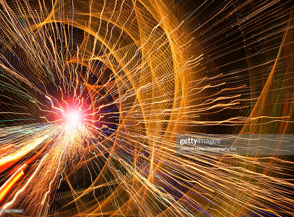Long exposure of light streaks : Stock Photo