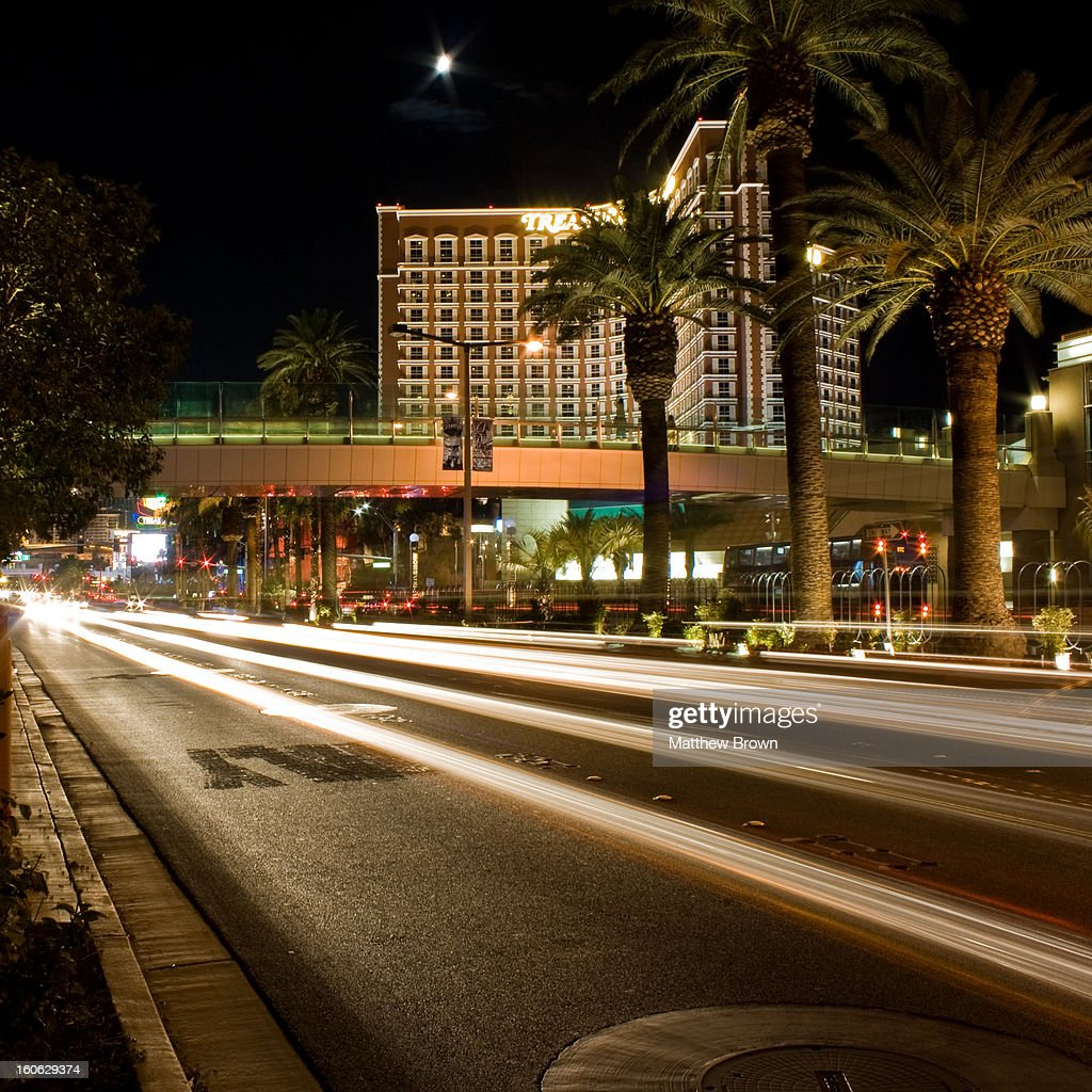 CONTENT] Long exposure of light trails from the traffic on Las Vegas Blvd facing the Treasure Island Hotel and Casino. 2009