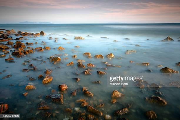 Long exposure of sea at sunset