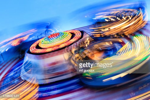 Long exposure photo of carnival rides