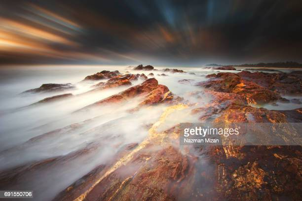 Long exposure shot of stormy seascape. A concept of nature's power.