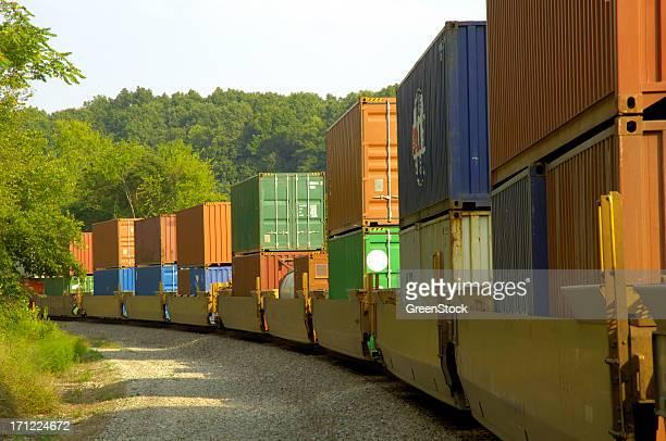 Long freight train hauls cargo
