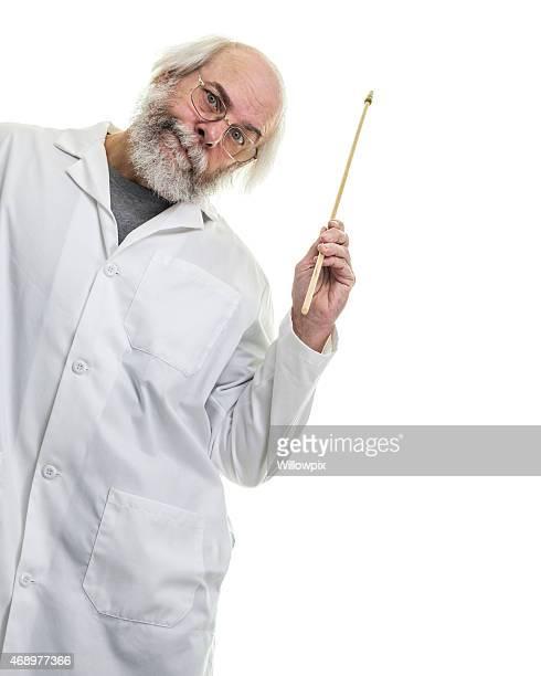 Long Hair Senior Man Professor Holding Pointer Stick