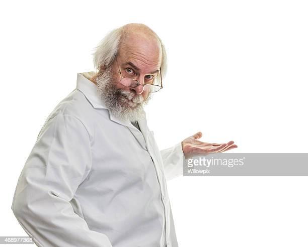 Long Hair Senior Man Professor With Palm Up