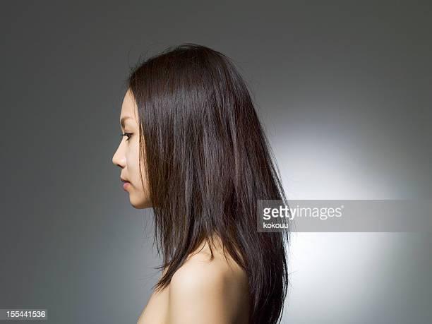 ロング haired 女性は、幅