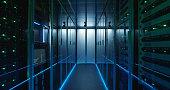 Shot of a long hallway full server racks in a modern data center