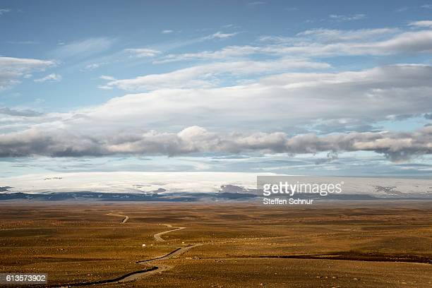 long highland road - arial view Iceland