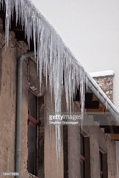 Long icicles on a building