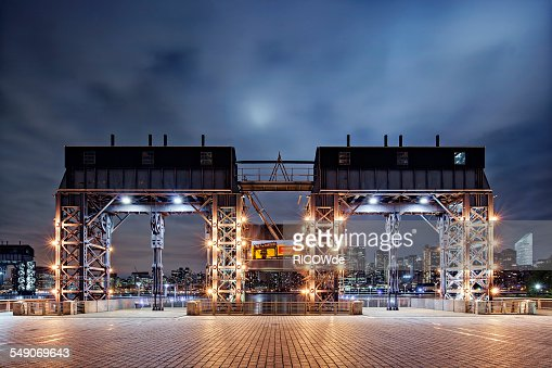 Long Island city Pier at night