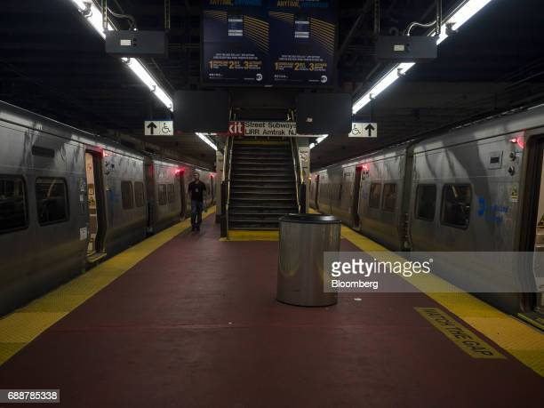 Long Island Railroad Co trains stand at a platform inside Pennsylvania Station in New York US on Friday May 26 2017 President Donald Trump tapped New...