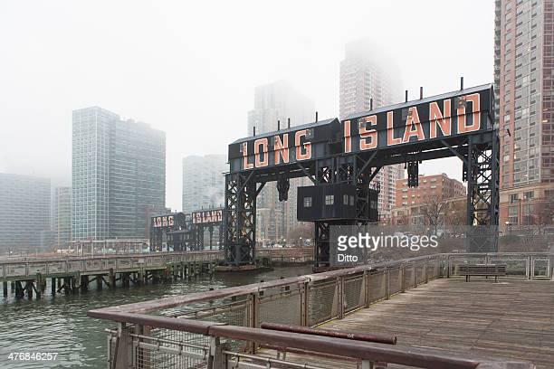 Long Island waterfront in mist, New York City, USA
