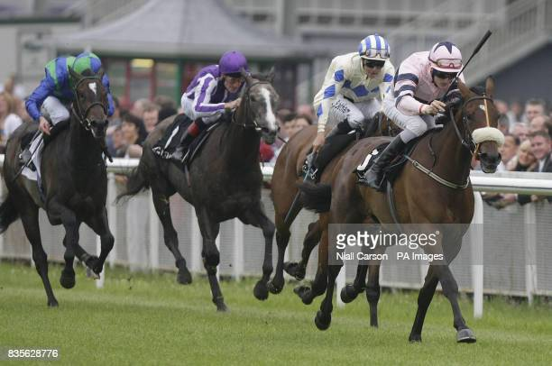 Long Lashes ridden by Fran Berry leads the field to go on to win the Ballygallon Stud Stakes during the Kildare Village Derby Friday at Curragh...