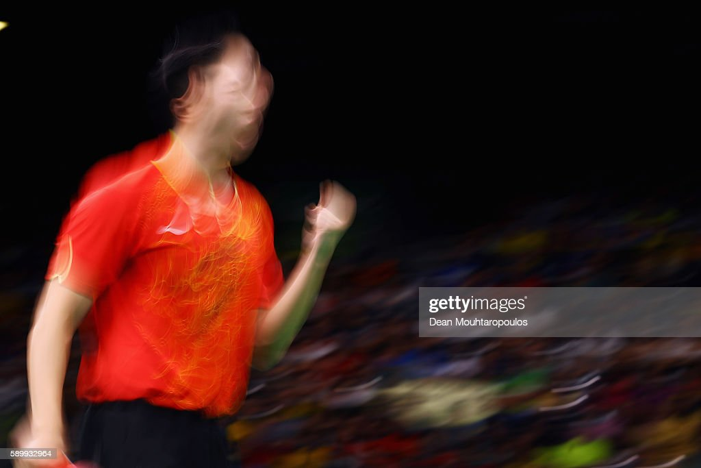 Long Ma of China celebrates a point against Saehyuk Joo of South Korea during the Table Tennis Men's Team Round Semi Final between China and South Korea during Day 10 of the Rio 2016 Olympic Games at Riocentro - Pavilion 3 on August 15, 2016 in Rio de Janeiro, Brazil.