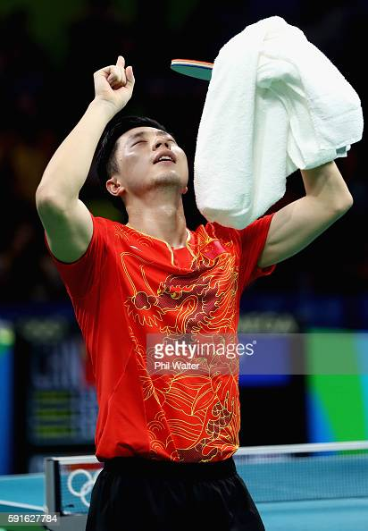 Long Ma of China celebrates after the Men's Table Tennis gold medal match against Maharu Yoshimura of Japan at Riocentro Pavilion 3 on Day 12 of the...