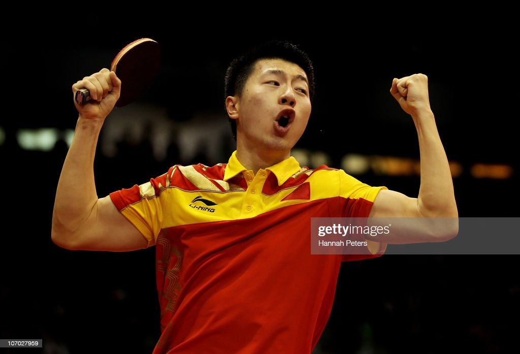 Long Ma of China celebrates his win against Saehyuk Joo of South Korea in the Table Tennis Men's Singles Semifinals at Guangzhou Gymnasium during day eight of the 16th Asian Games Guangzhou 2010 on November 20, 2010 in Guangzhou, China.