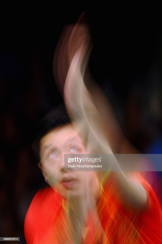Long Ma of China celebrates in action against Saehyuk Joo of South Korea during the Table Tennis Men's Team Round Semi Final between China and South Korea during Day 10 of the Rio 2016 Olympic Games at Riocentro - Pavilion 3 on August 15, 2016 in Rio de Janeiro, Brazil.