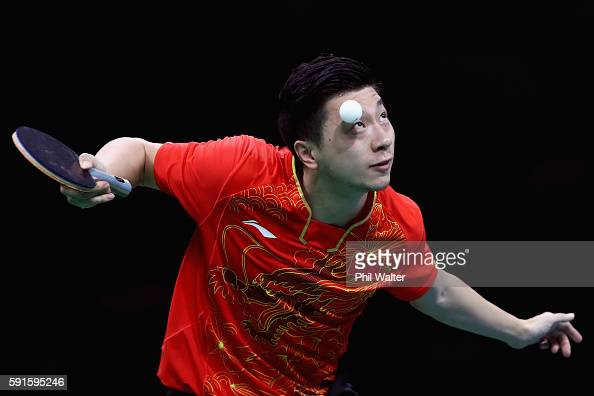 Long Ma of China competes during the Men's Table Tennis gold medal match against Koki Niwa of Japan at Riocentro Pavilion 3 on Day 12 of the Rio 2016...