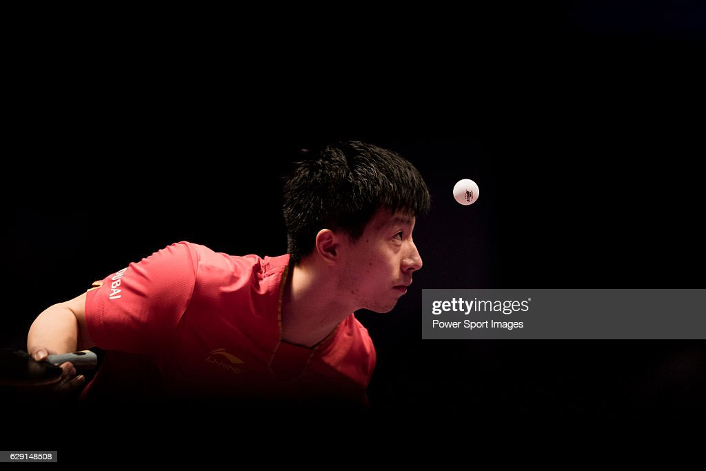 Long Ma of China in action on his way to win the Men's Singles Final match against Fan Zhendong of China during the Seamaster Qatar 2016 ITTF World Tour Grand Finals at the Ali Bin Hamad Al Attiya Arena on 11 December 2016, in Doha, Qatar.
