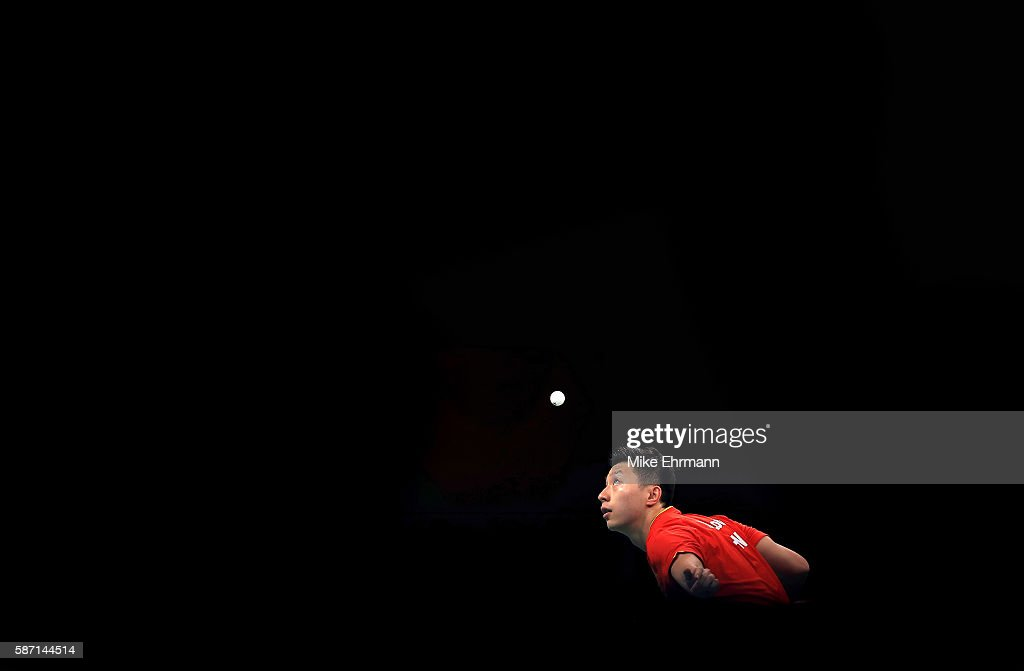 Long Ma of China plays a Men's Singles third round match against Jonathan Groth of Denmark on Day 2 of the Rio 2016 Olympic Games at Riocentro - Pavilion 3 on August 7, 2016 in Rio de Janeiro, Brazil.