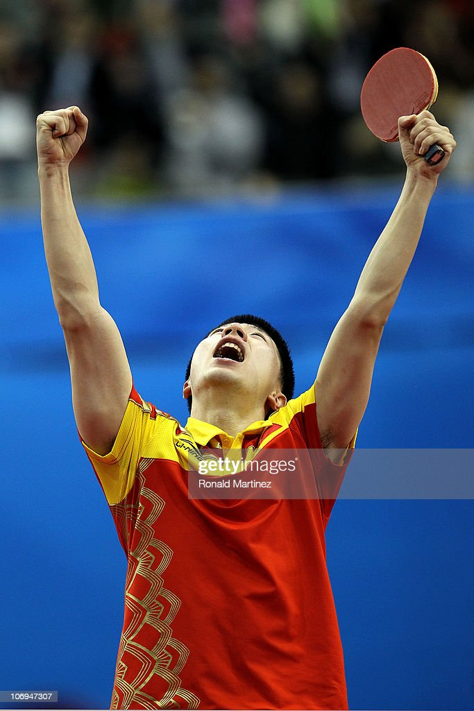 Long Ma of China reacts after defeating Chih Yuan Chuang of Chinese Taipei in the quaterfinals of the men's table tennis during day six of the 16th Asian Games Guangzhou 2010 at Guangzhou Gymnasium on November 18, 2010 in Guangzhou, China.
