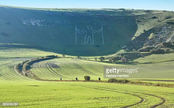 Long Man of Wilmington 16th century carving in chalk hill