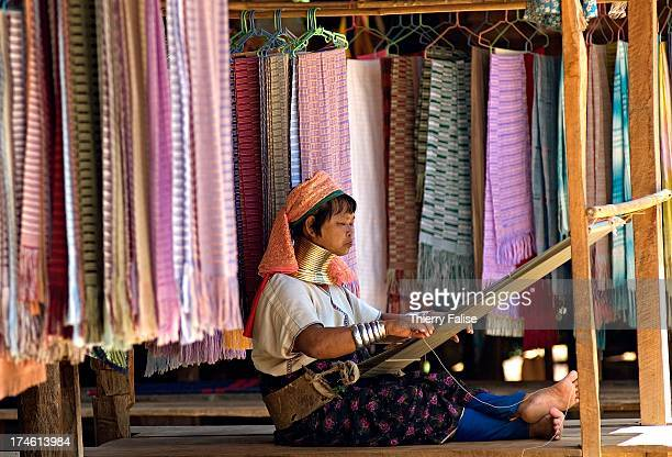 A 'long neck' woman is weaving in Huay Pu Keng village Northern Thailand The 'long necks' are female ethnic Padaung a subgroup of the Karen ethnic...