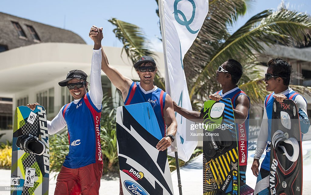 Long Nguyen Duc of Vietnam (2nd Place), Victor Borsuk of Poland (1st Place), Ken Nacor (3rd Place) and Reynard Gajisan (4th Place) celebrate after the freestyle competition during day five of the KTA at Boracay Island on March 30, 2013 in Makati, Philippines.