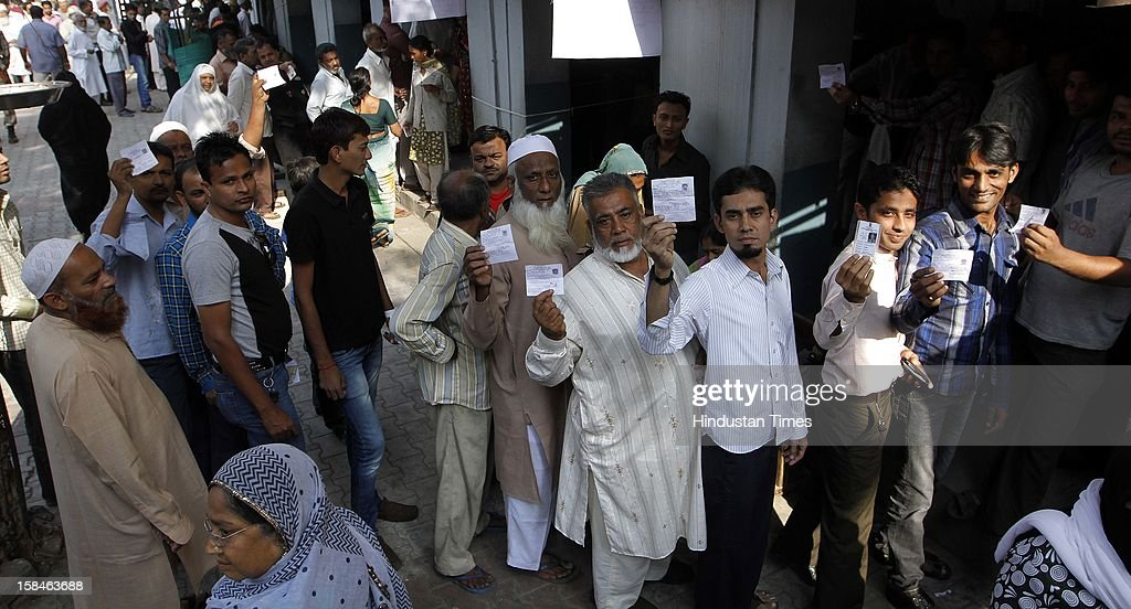 A long queue of voters during the last phase assembly poll at Shahpur, Ahmedabad on December 17, 2012 in Gujarat, India.