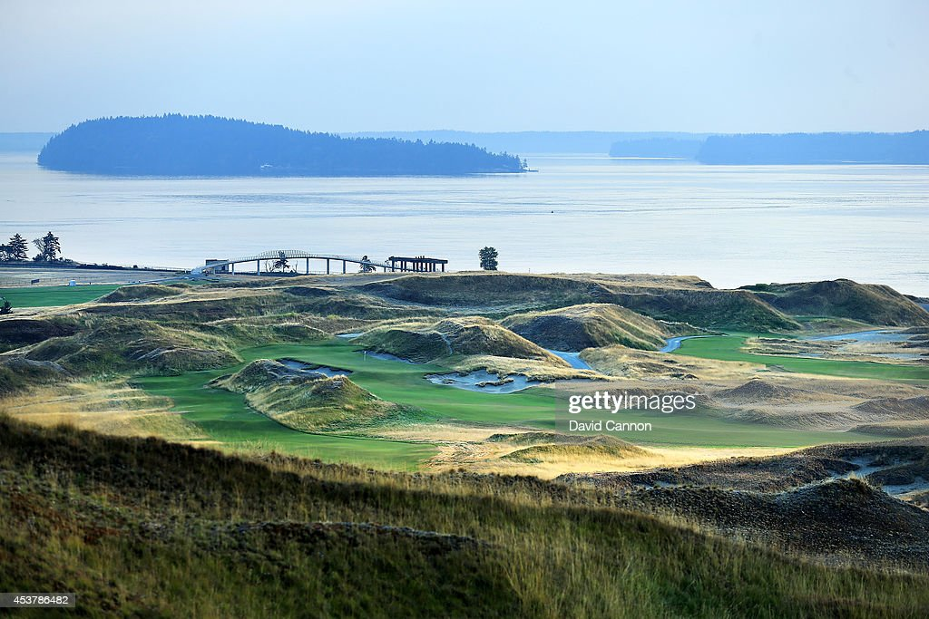A long range view of the green on the 418 yards par 4 6th hole at Chambers Bay Golf Course the venue for the 2015 US Open Championship on August 12...