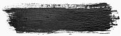Long rectangular hand drawn isolated paintbrush stripe with dirty black color ink. Splatter Paint Texture. Distress rough background. Scratch, Grain, Noise rectangle stamp. Copy space for your text.