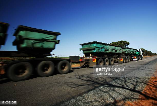 A long Road train on the country highways of Western Australia 25 May 2005 AFR Picture by ERIN JONASSON