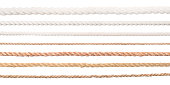 Ropes set. Collection of different straight long ropes isolated on white