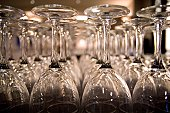 Long rows of restaurant glassware.
