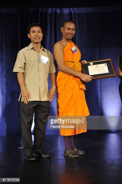 Long Sarou and Venerable Bun Sarouth attend UNDP Equator Prize 2010 at The American Museum of Natural History on September 20 2010 in New York City