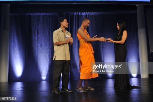 Long Sarou Venerable Bun Sarouth and Anggun attend UNDP Equator Prize 2010 at The American Museum of Natural History on September 20 2010 in New York...
