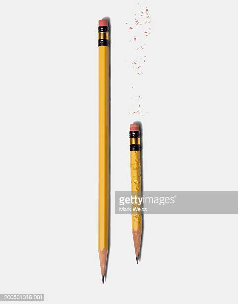 Long sharp pencil and short chewed pencil
