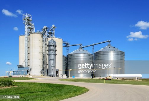 Long shot of grain elevator facility on a sunny day
