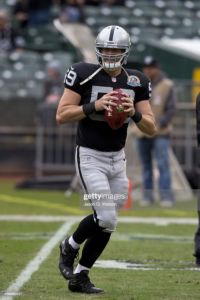 Long snapper Jon Condo #59 of the Oakland Raiders warms up before the game against the Kansas City Chiefs at O.co Coliseum on December 16, 2012 in Oakland, California. The Oakland Raiders defeated the Kansas City Chiefs 15-0. Photo by Jason O. Watson/Getty Images)