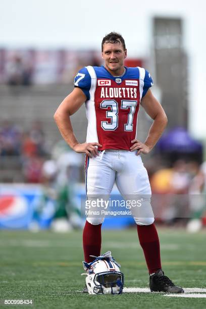 Long snapper Martin Bedard of the Montreal Alouettes looks on during the warmup prior to the CFL game against the Saskatchewan Roughriders at...
