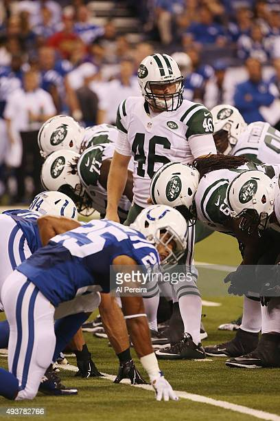 Long Snapper Tanner Purdum of the New York Jets gets set against the Indianapolis Colts at Lucas Oil Stadium on September 21 2015 in Indianapolis...