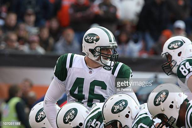 Long Snapper Tanner Purdum of the New York Jets gets set to snap the Cleveland Browns in overtime when the Cleveland Browns host the New York Jets at...
